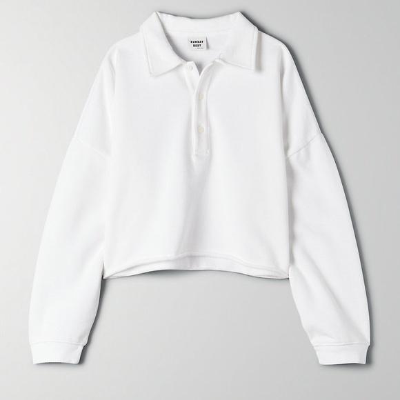 NWT Sunday Best Cropped Fleece Polo - XXS White